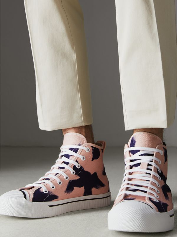 Bird Print Canvas High-top Sneakers in Apricot Pink - Men | Burberry - cell image 2