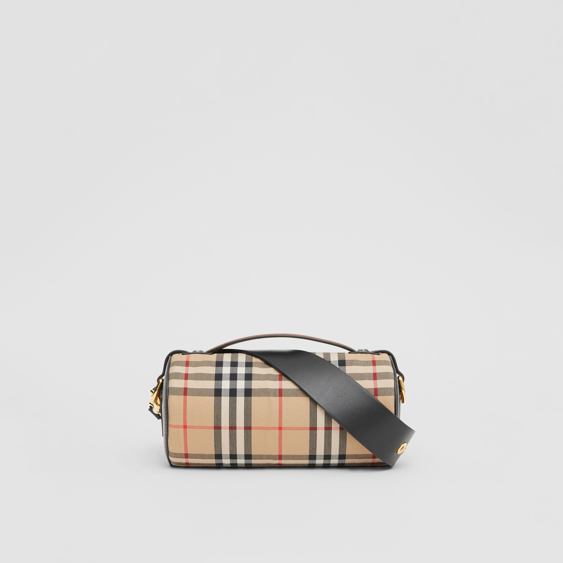 The Vintage Check and Leather Barrel Bag in Archive Beige/black - Women | Burberry Canada - gallery image 7