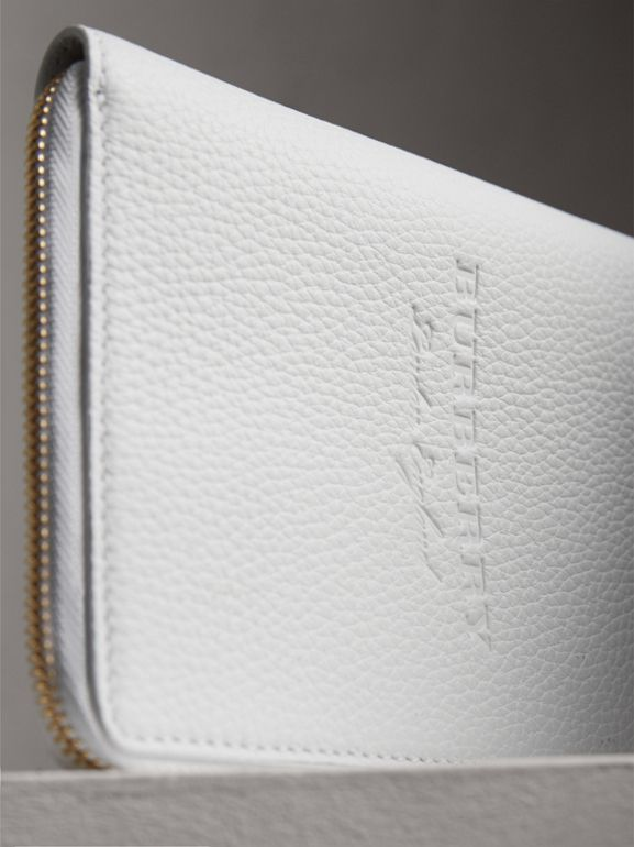 Embossed Grainy Leather Ziparound A6 Notebook Case in Chalk White | Burberry - cell image 1