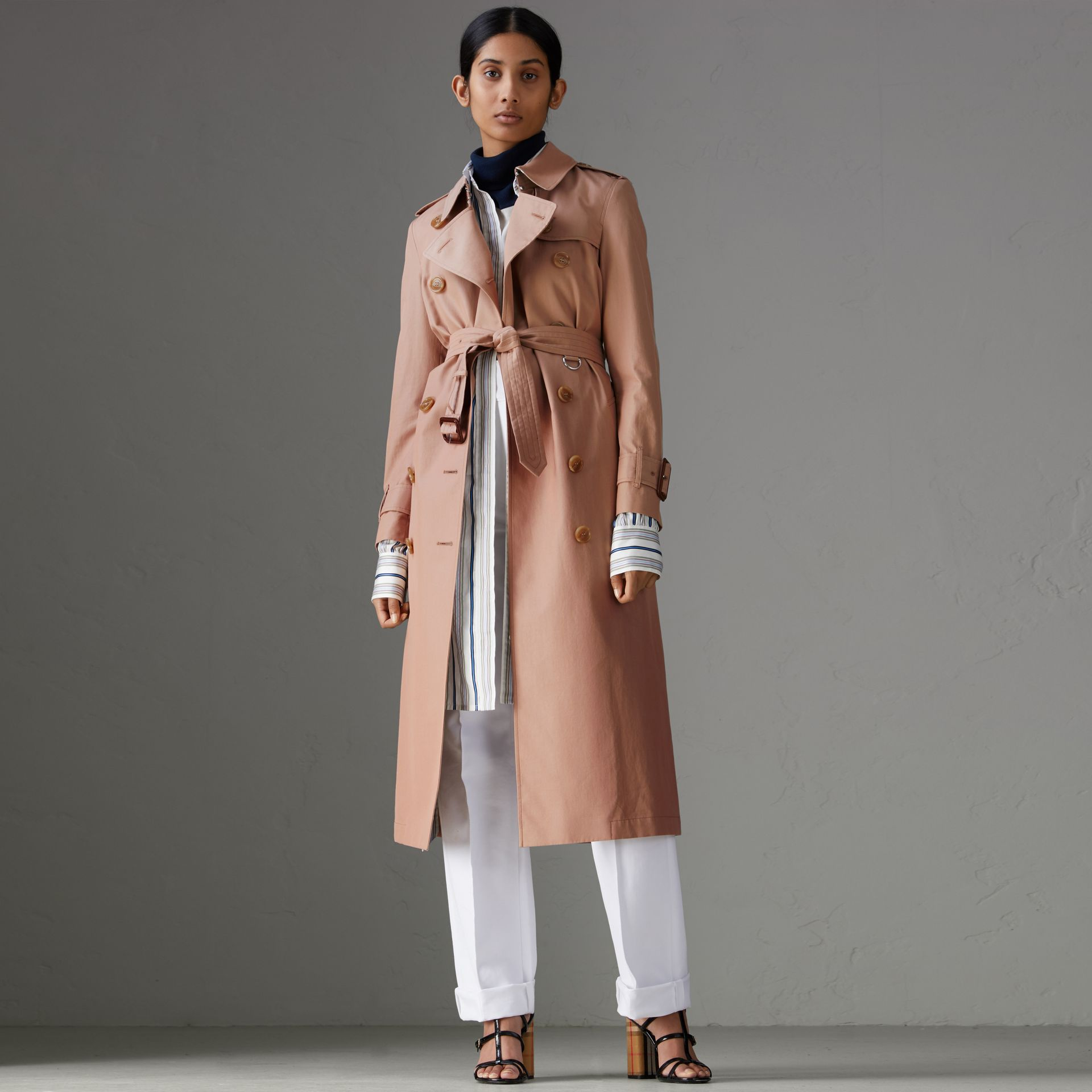 Tropical Gabardine Trench Coat in Pink Apricot - Women | Burberry Singapore - gallery image 0