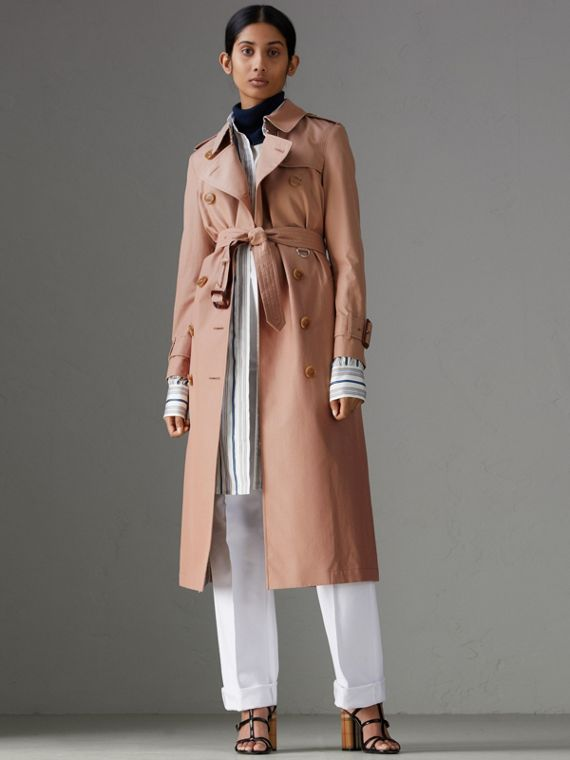 Tropical Gabardine Trench Coat in Pink Apricot