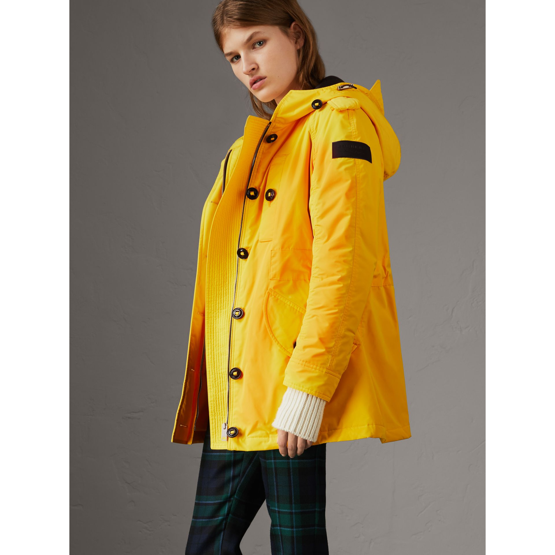 Technical Taffeta Hooded Parka in Bright Yellow - Women | Burberry - gallery image 6