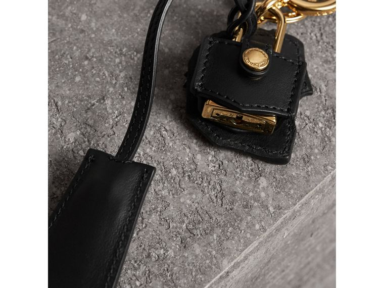 Pallas Helmet Motif Leather Key Charm with Padlock in Black/white - Women | Burberry - cell image 2