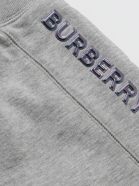 Logo Detail Cotton Drawcord Shorts in Grey Melange - Children | Burberry - cell image 1