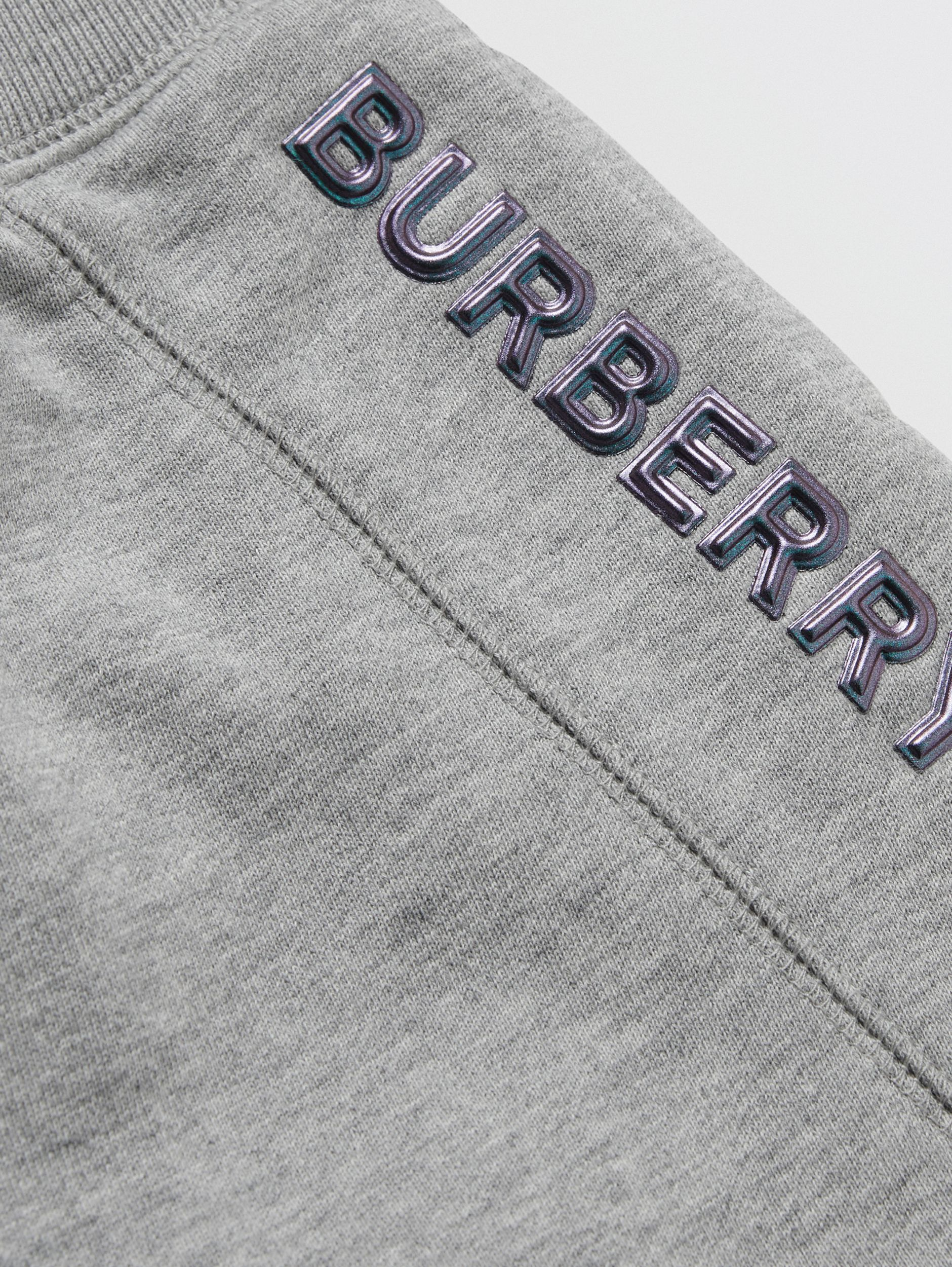 Logo Detail Cotton Drawcord Shorts in Grey Melange - Children | Burberry - 2