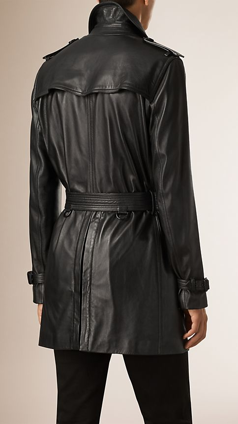 Black Nappa Leather Trench Coat - Image 3