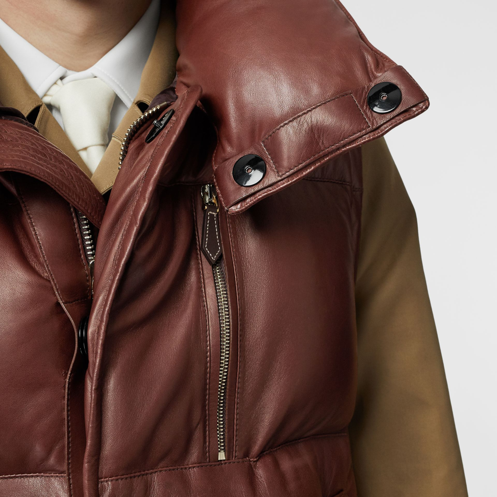 Down-filled Lambskin Puffer Gilet in Dark Mocha - Men | Burberry - gallery image 5
