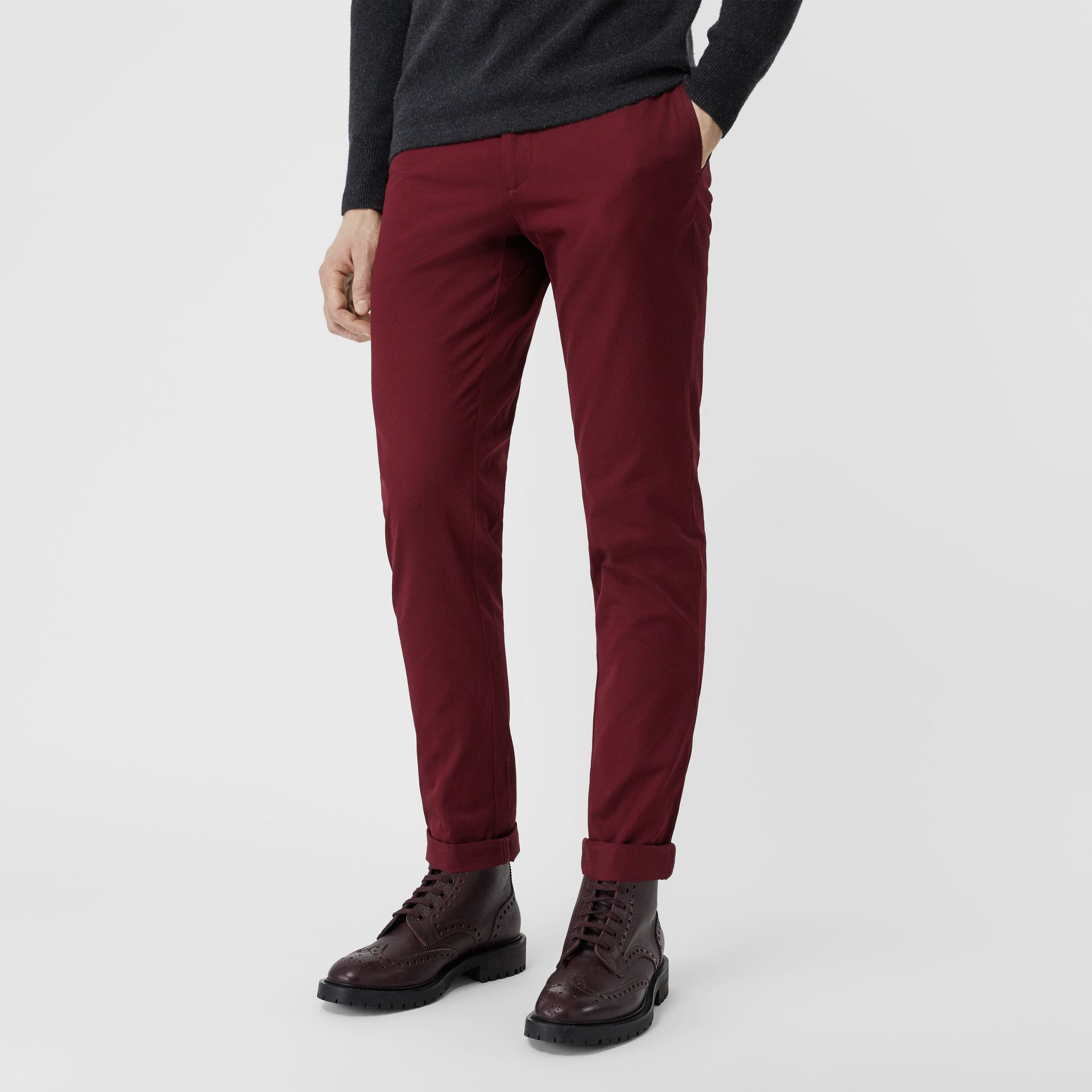 Slim Fit Cotton Chinos in Dark Crimson - Men | Burberry - gallery image 4