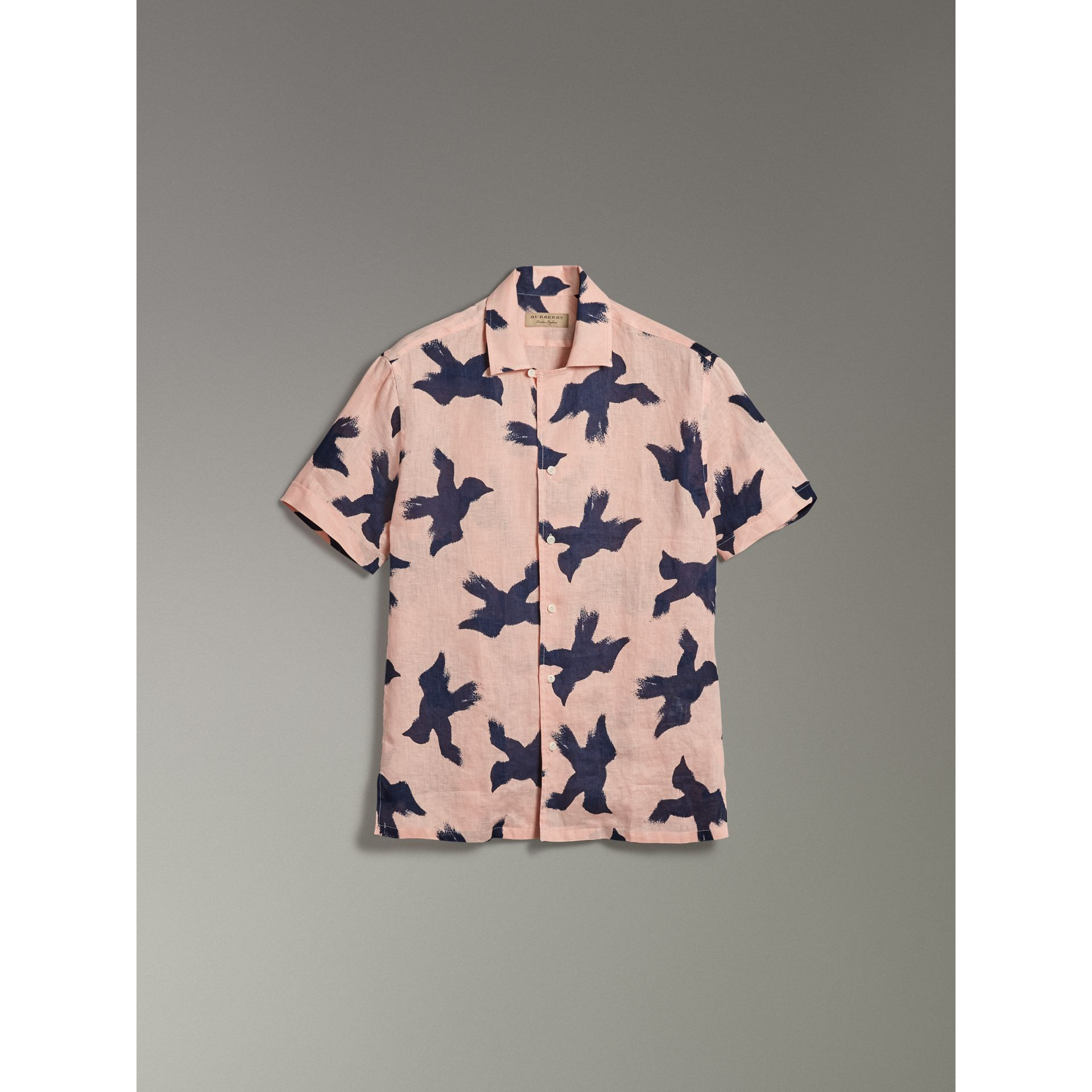 Short-sleeve Bird Print Linen Shirt in Apricot Pink - Men | Burberry - gallery image 3