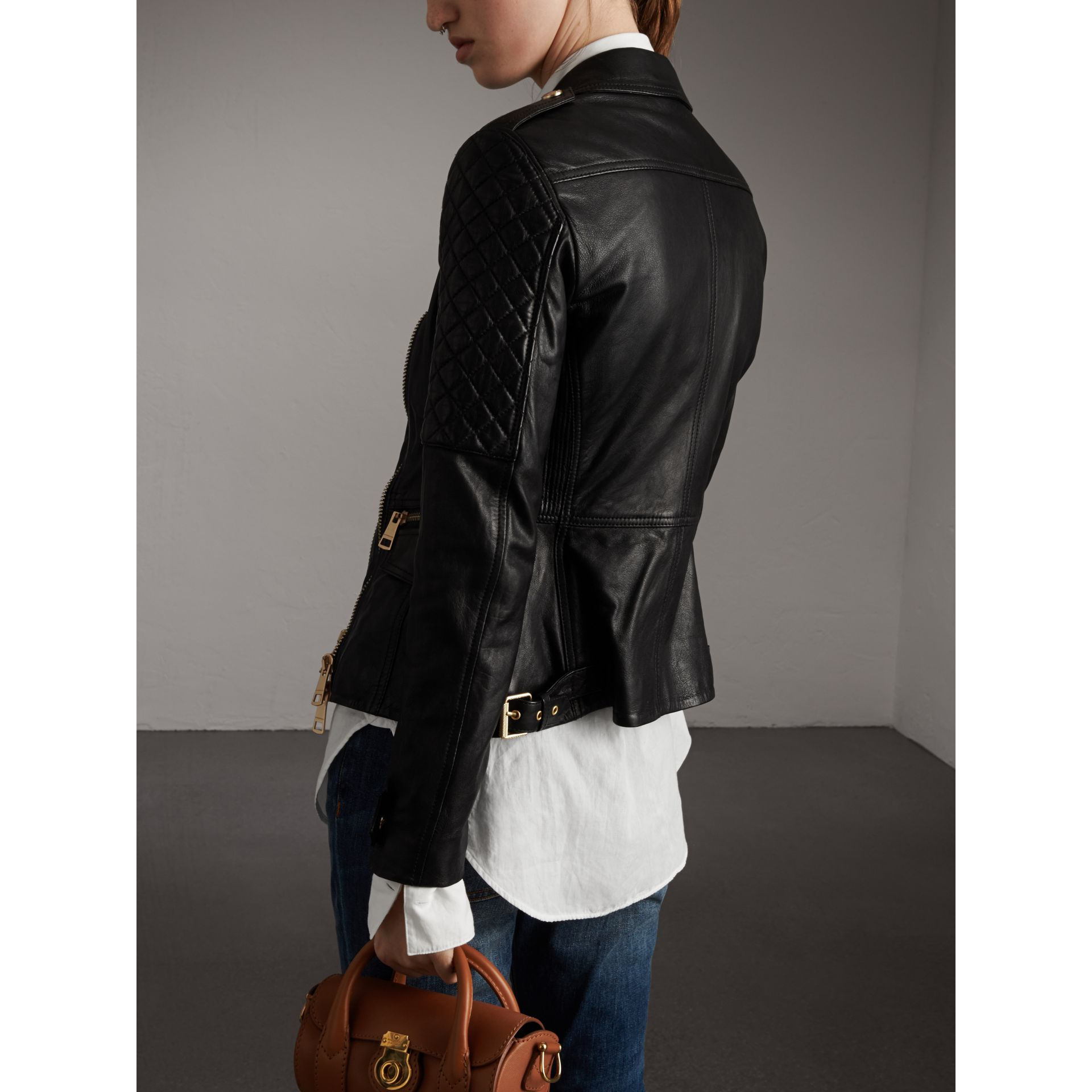 Diamond Quilted Detail Lambskin Biker Jacket - Women | Burberry - gallery image 3