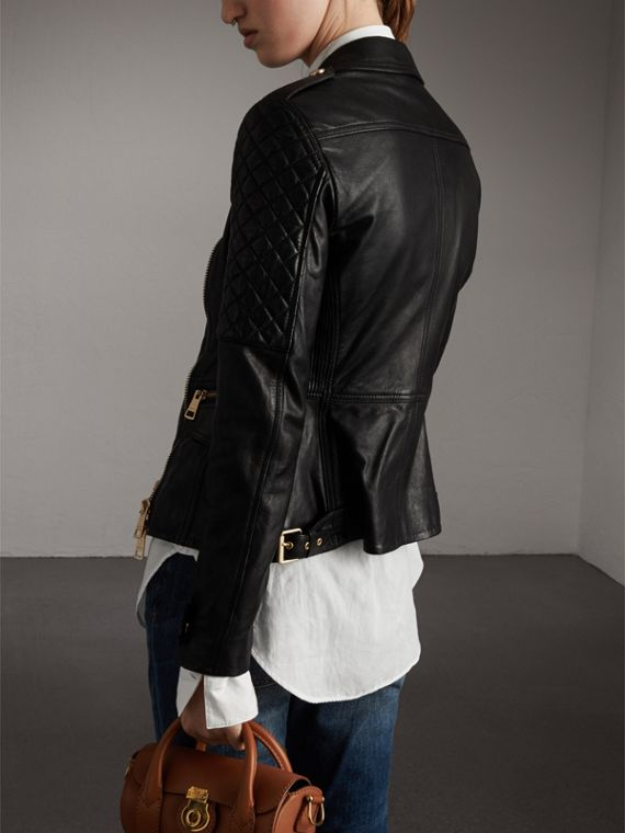 Diamond Quilted Detail Lambskin Biker Jacket in Black - Women | Burberry Canada - cell image 2