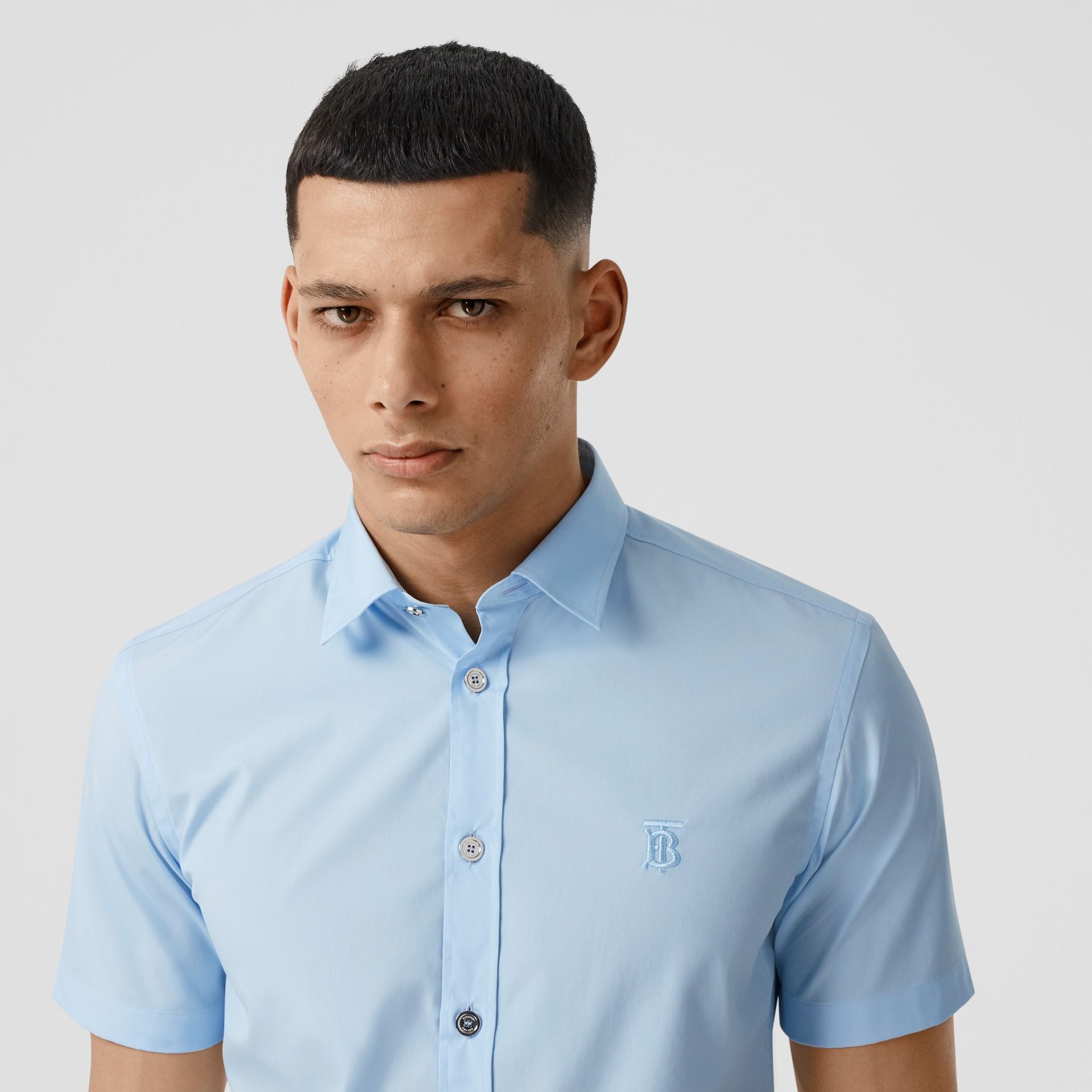Short-sleeve Monogram Motif Stretch Cotton Shirt in Pale Blue - Men | Burberry United Kingdom - gallery image 1