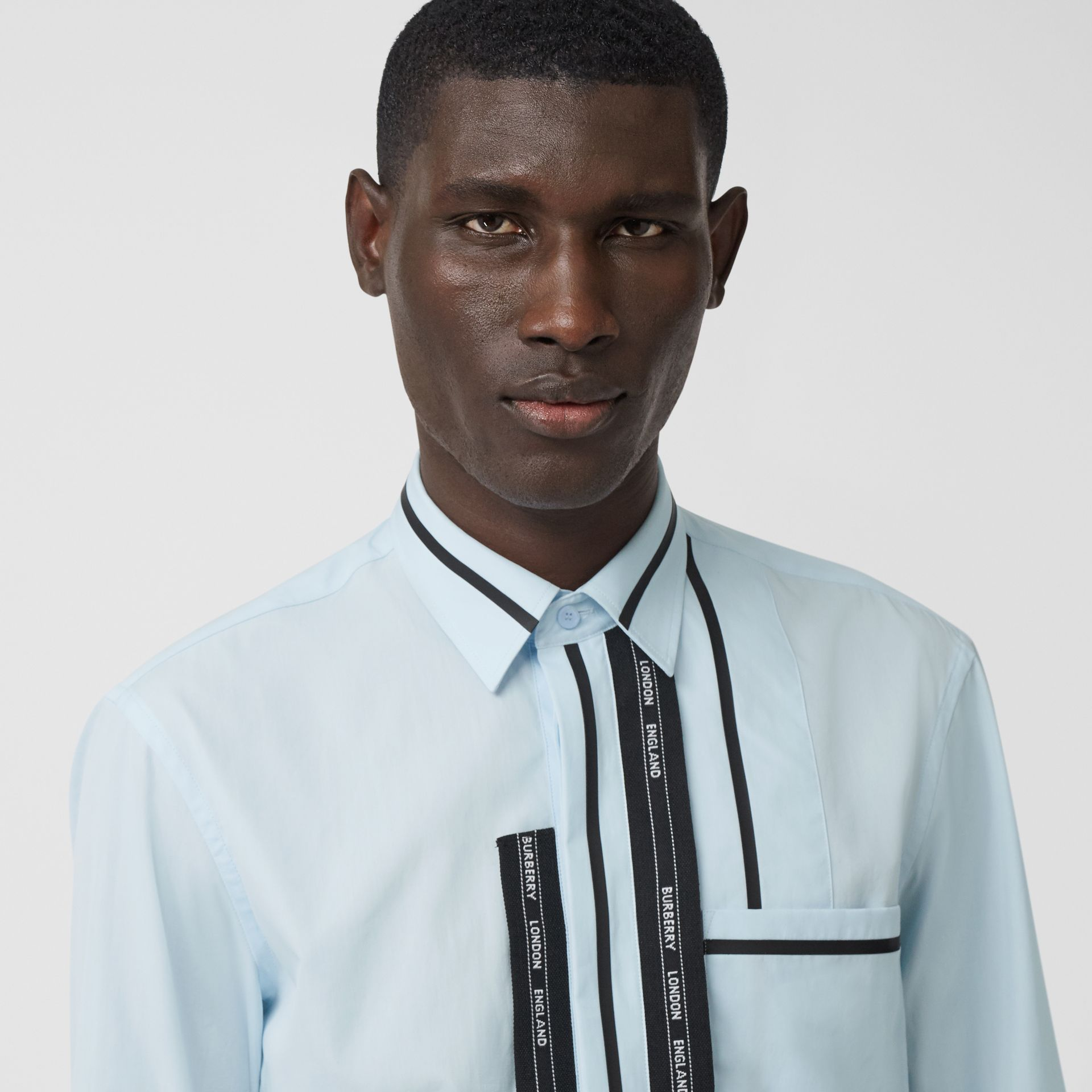 Classic Fit Logo Tape Detail Cotton Poplin Shirt in Pale Blue | Burberry - gallery image 6