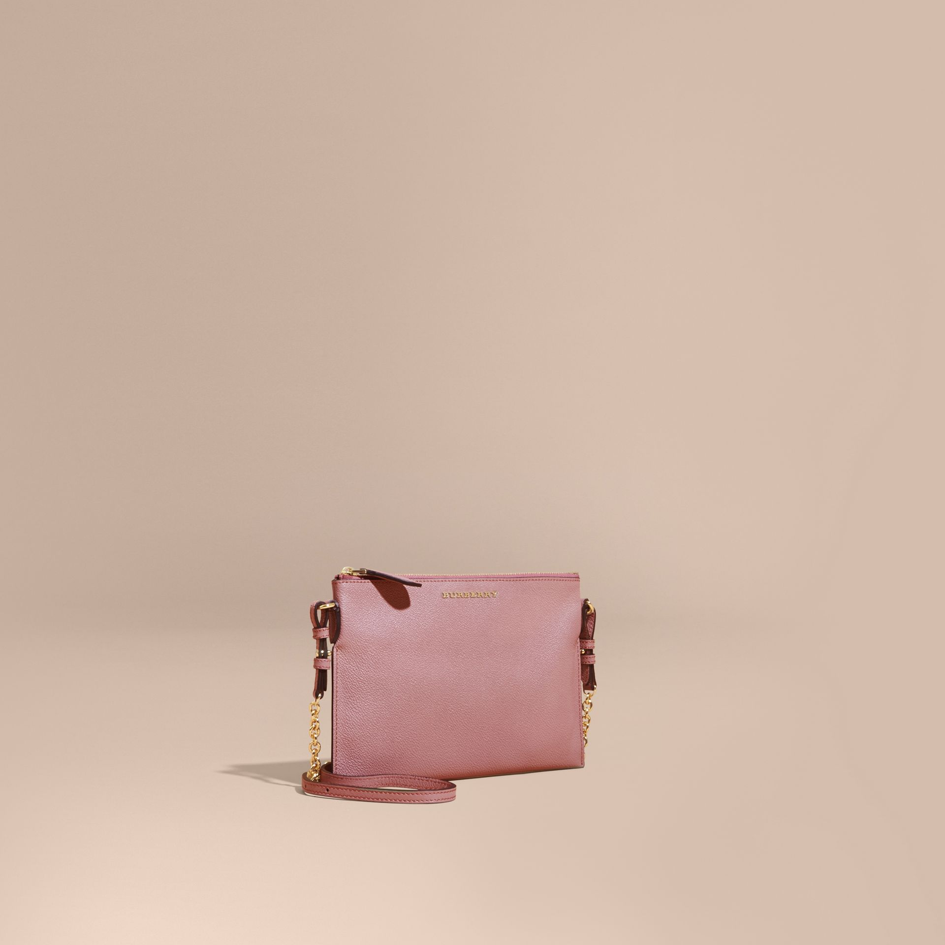 Leather Clutch Bag with Check Lining Dusty Pink - gallery image 1