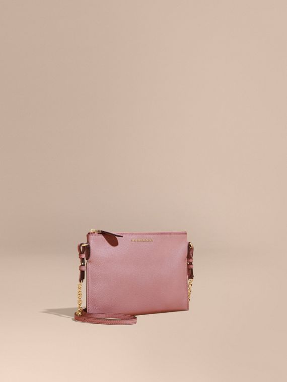 Leather Clutch Bag with Check Lining Dusty Pink