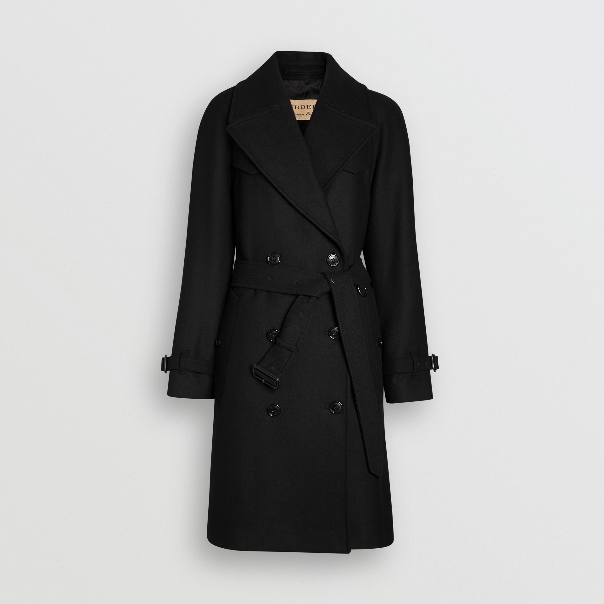 Herringbone Wool Cashmere Blend Trench Coat in Black - Women | Burberry United Kingdom - gallery image 3