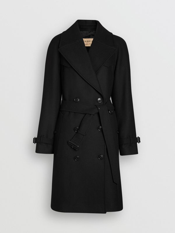 Herringbone Wool Cashmere Blend Trench Coat in Black - Women | Burberry United Kingdom - cell image 3
