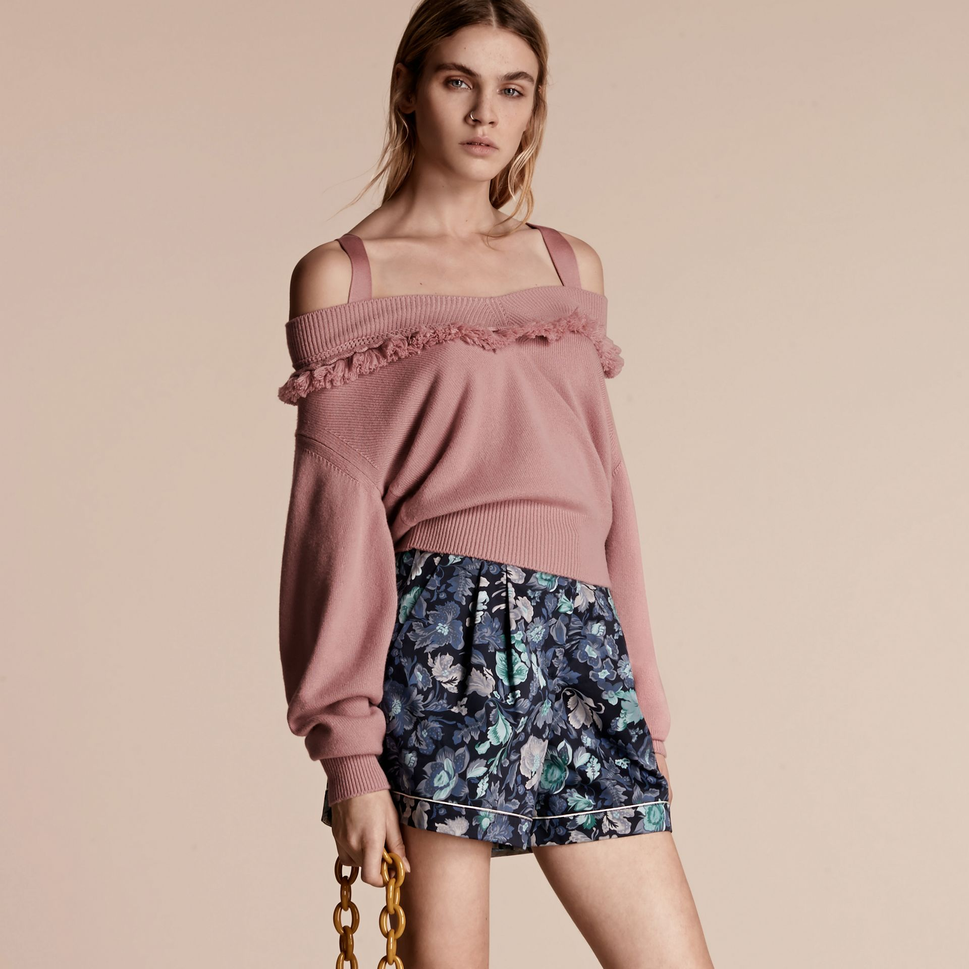 Blossom Cashmere Off-the-shoulder Sweater with Fringing Blossom - gallery image 6