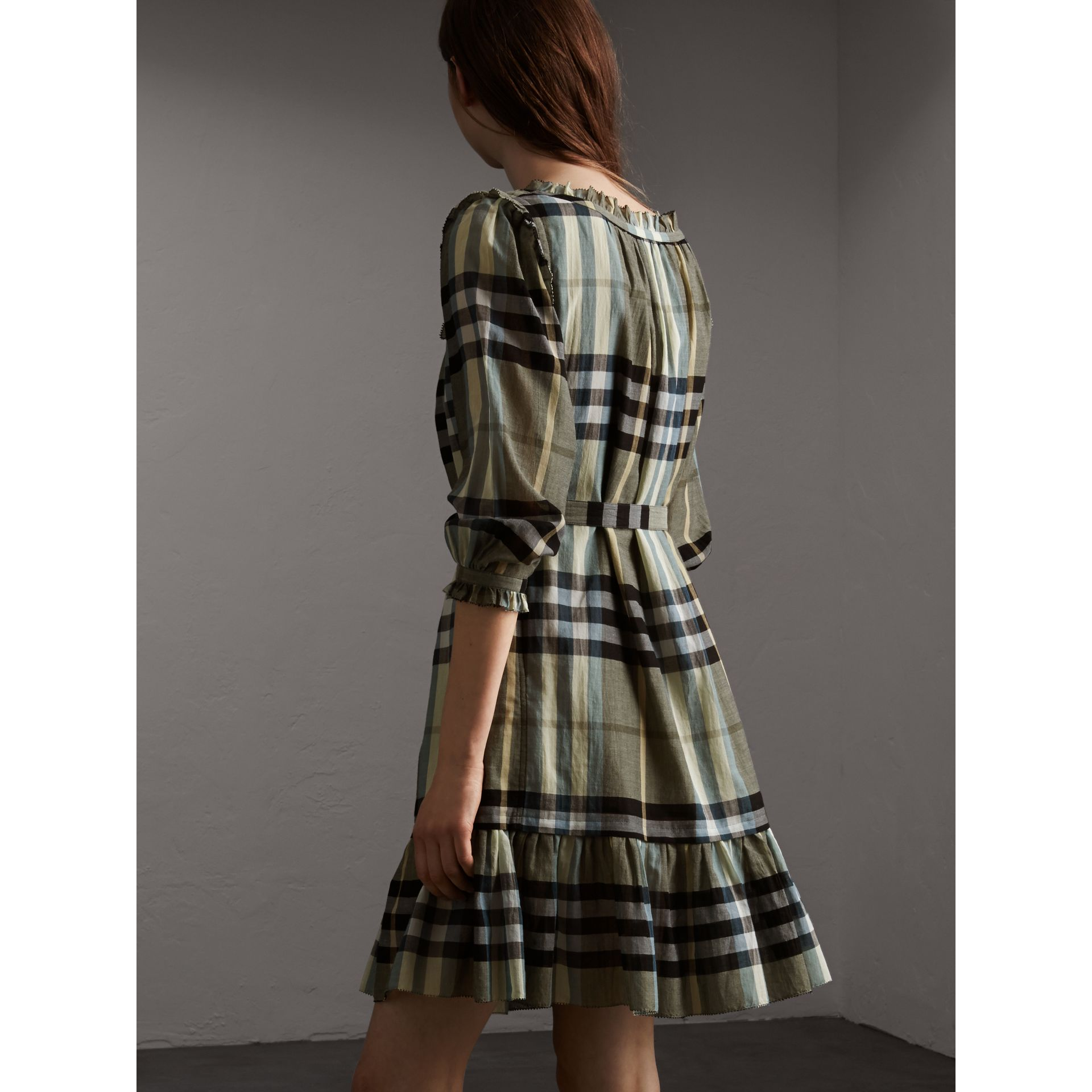Ruffle Detail Check Cotton Dress - Women | Burberry - gallery image 2