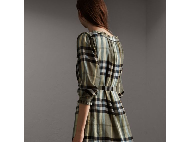 Ruffle Detail Check Cotton Dress - Women | Burberry - cell image 1