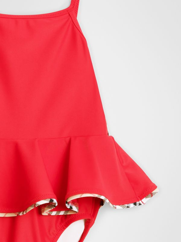 Check Detail Peplum One-piece Swimsuit in Poppy Red - Children | Burberry - cell image 3