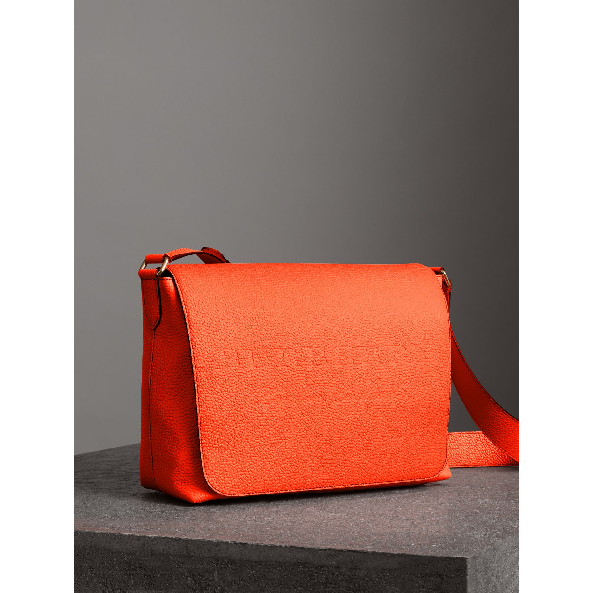 Large Embossed Leather Messenger Bag in Neon Orange | Burberry - gallery image 6