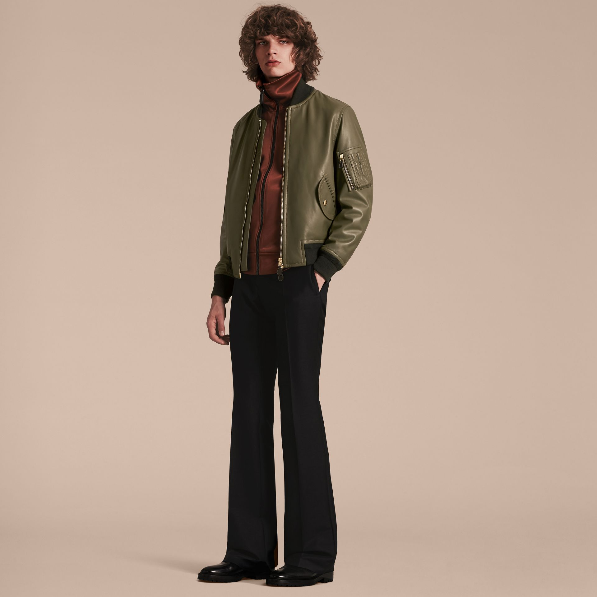 Light military green Lambskin Bomber Jacket - gallery image 6