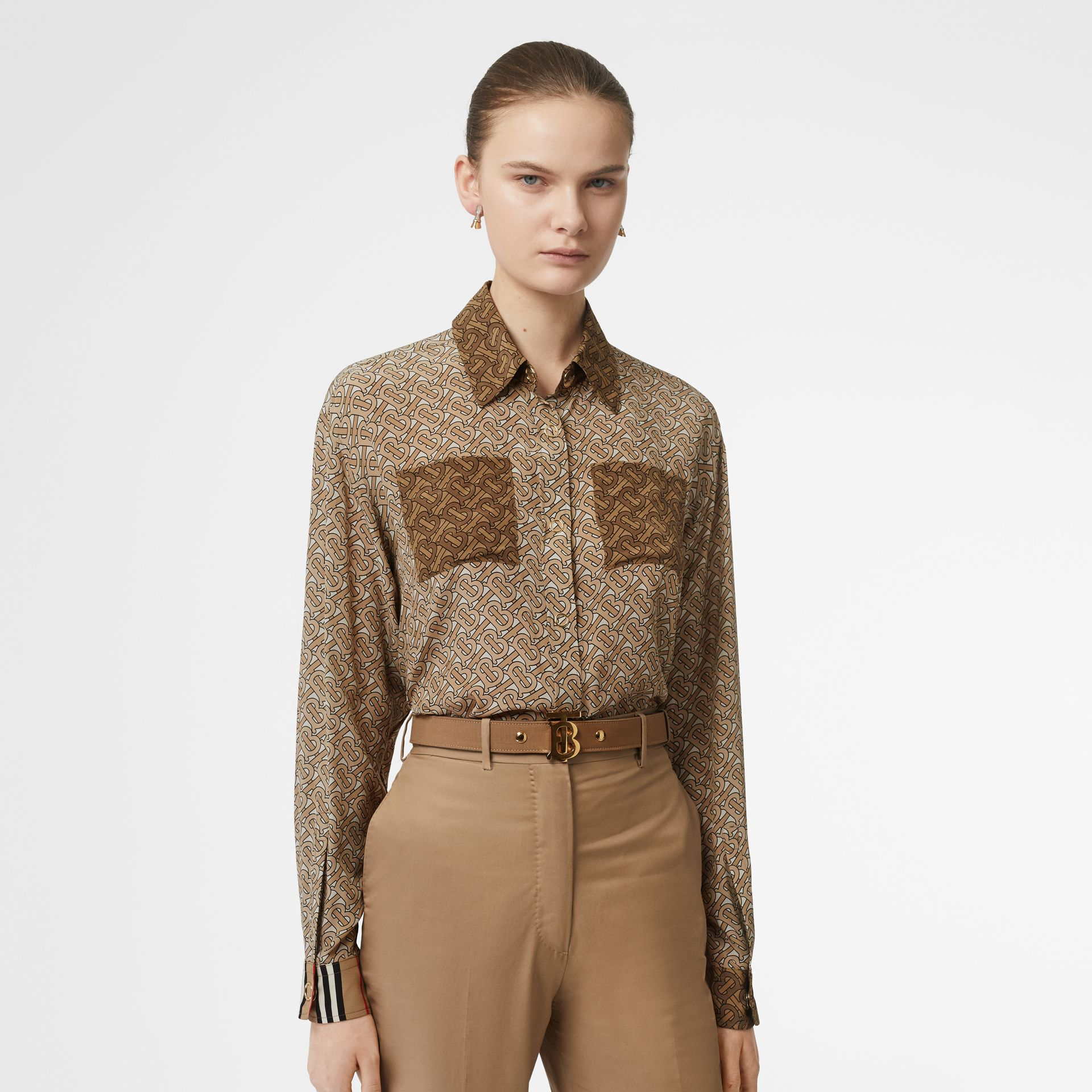 Two-tone Monogram Print Silk Shirt in Light Camel - Women | Burberry - gallery image 4