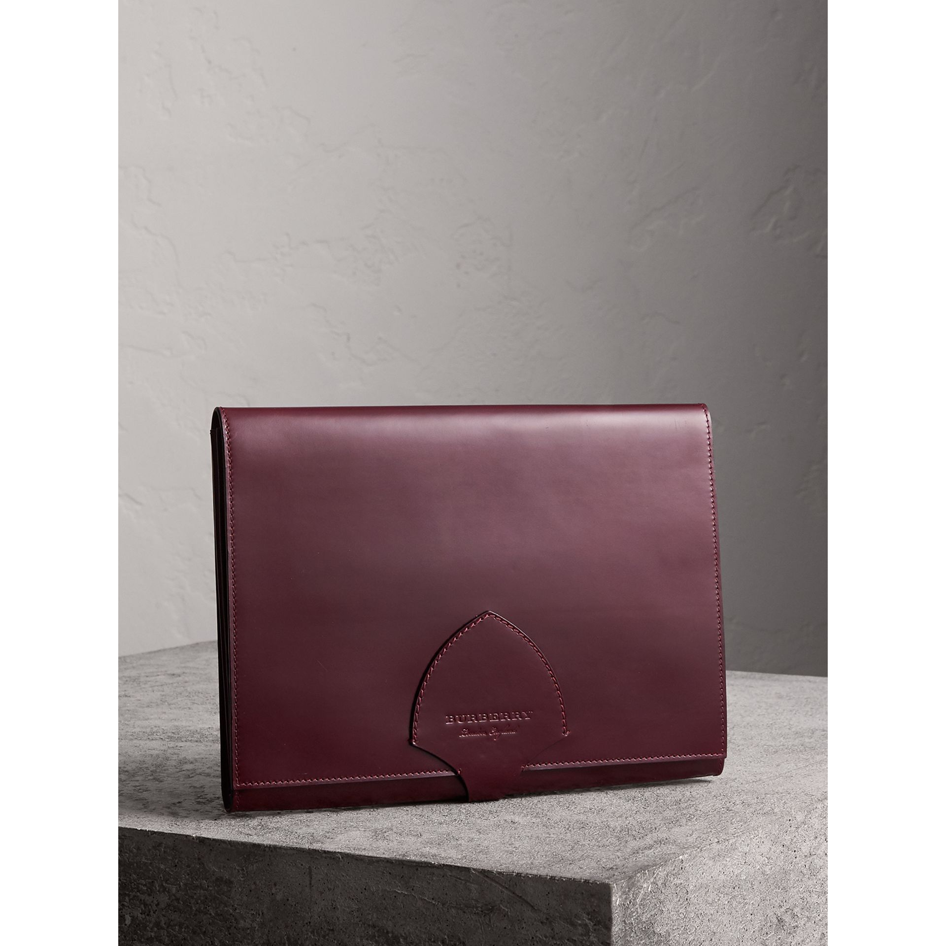 Equestrian Shield Leather A4 Document Case in Deep Claret | Burberry - gallery image 4