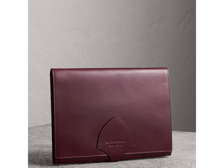 Equestrian Shield Leather A4 Document Case in Deep Claret | Burberry - cell image 4