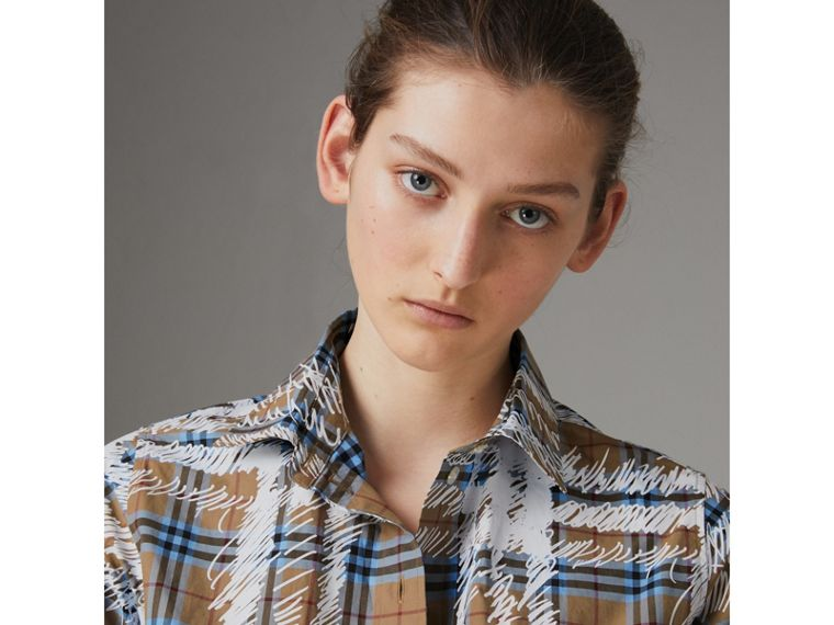 Scribble Check Cotton Stepped-hem Shirt in Bright Mineral Blue - Women | Burberry United Kingdom - cell image 1