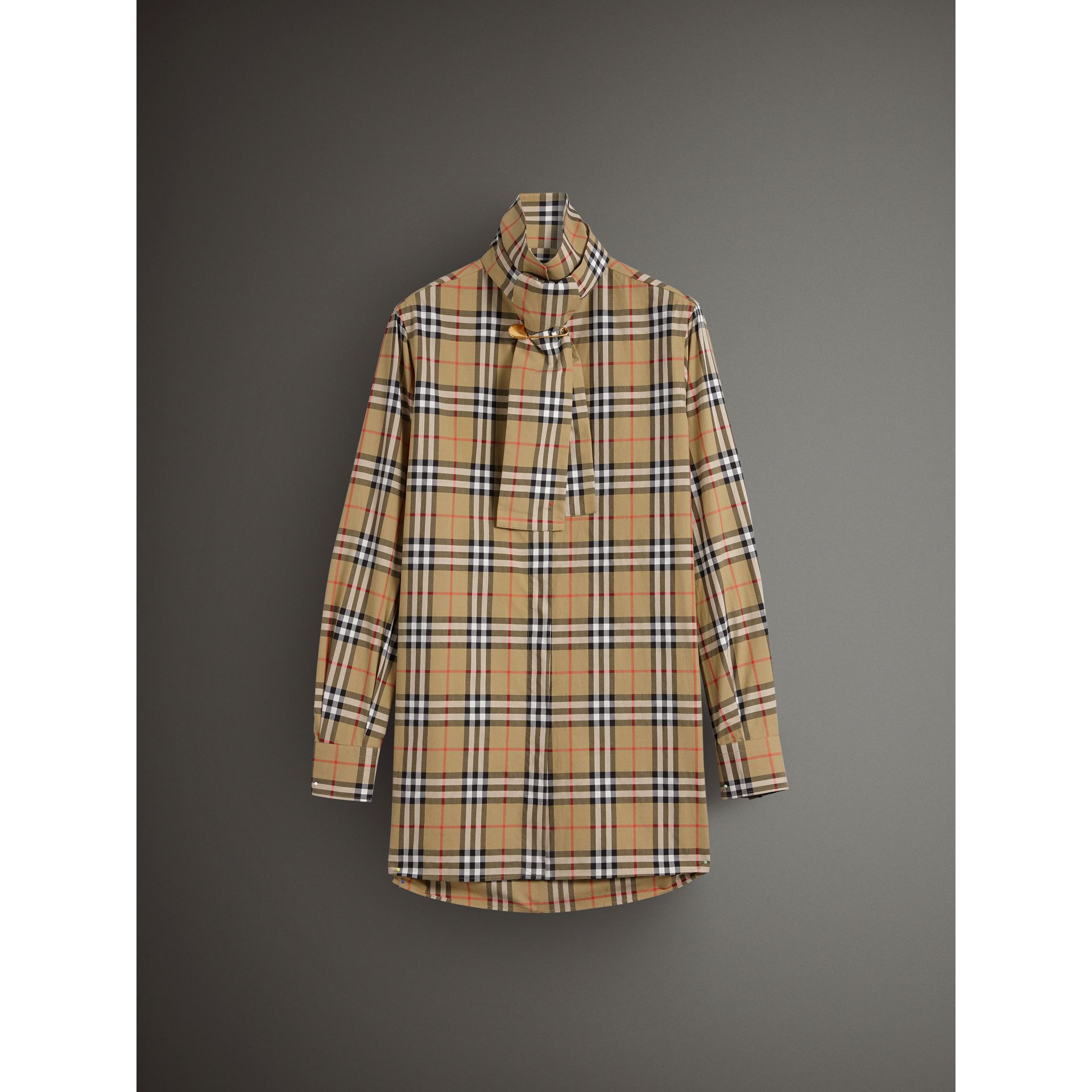 Vintage Check Cotton Tie-neck Riding Shirt in Antique Yellow - Women | Burberry - gallery image 4
