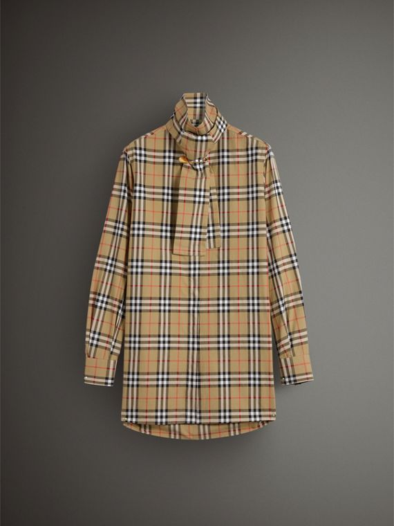 Vintage Check Cotton Tie-neck Riding Shirt in Antique Yellow - Women | Burberry - cell image 3