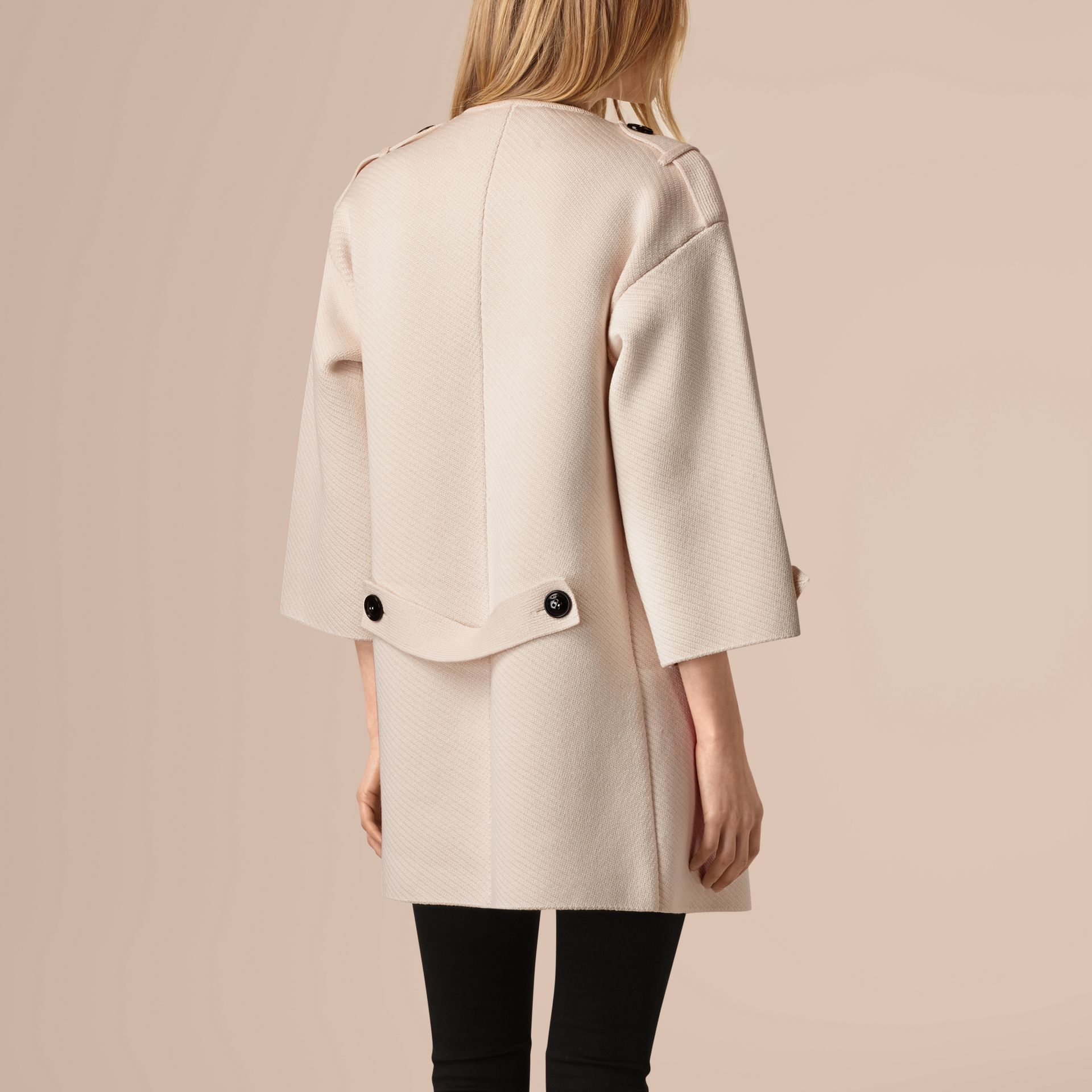 Natural white Knitted Silk Wool Cashmere Blend Jacket - gallery image 3