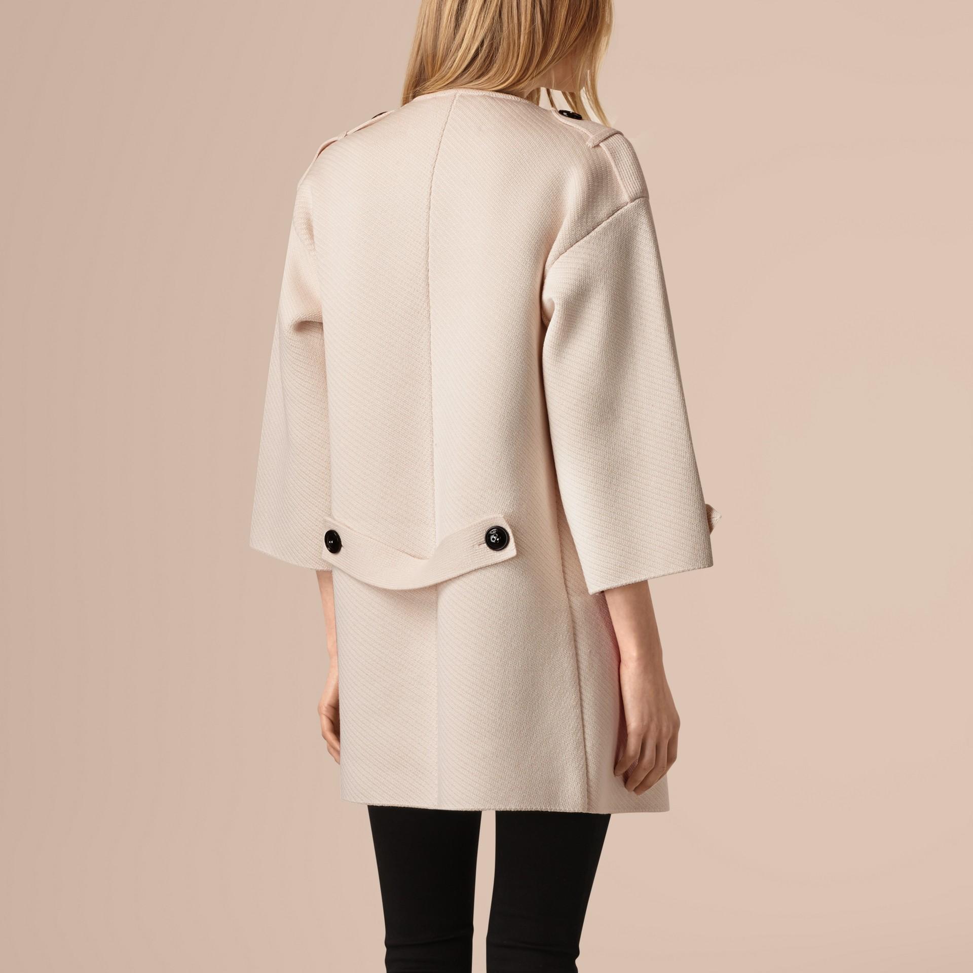 Blanc naturel Veste en maille de laine, cachemire et soie mélangés - photo de la galerie 3