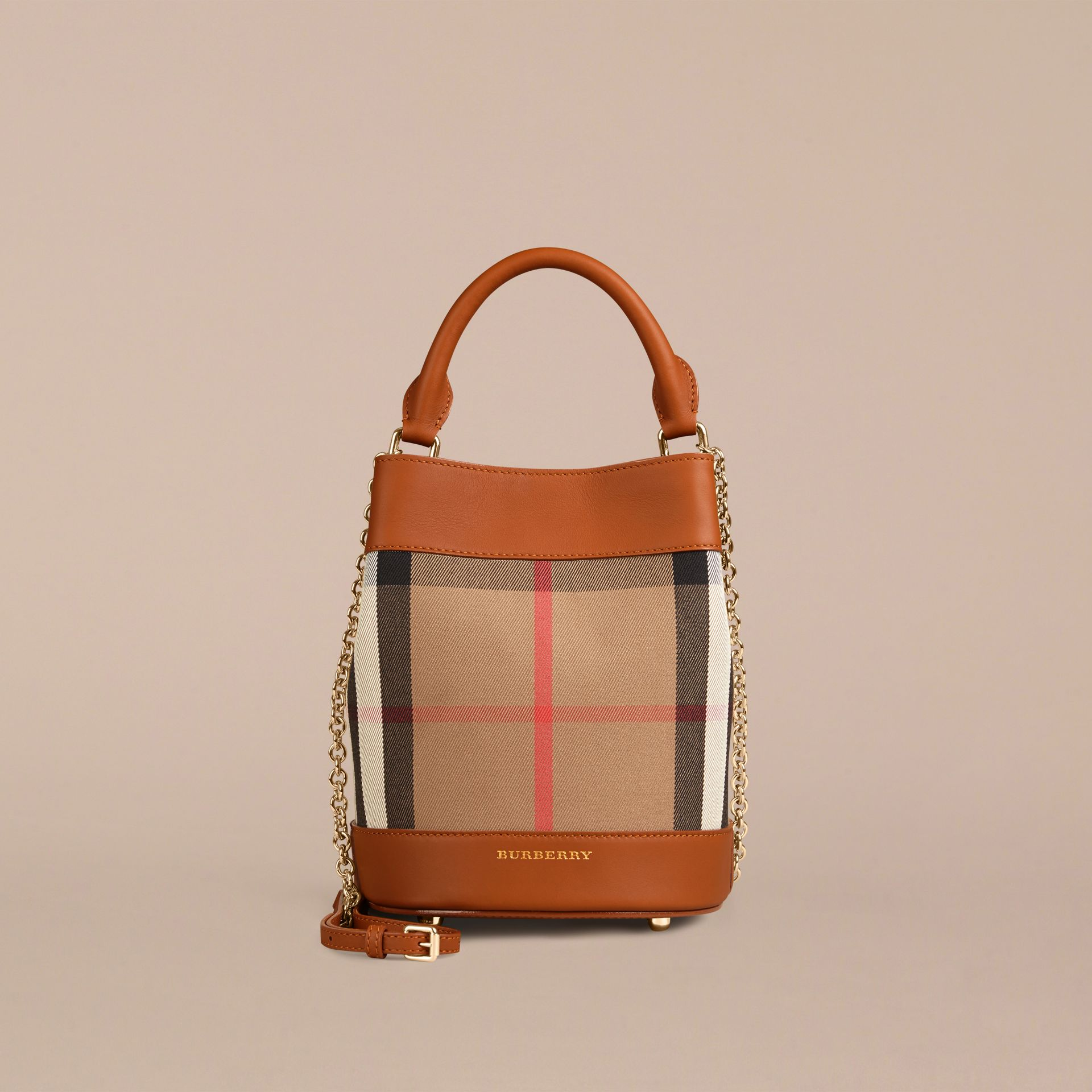 Light toffee The Small Bucket Bag in House Check and Leather Light Toffee - gallery image 4