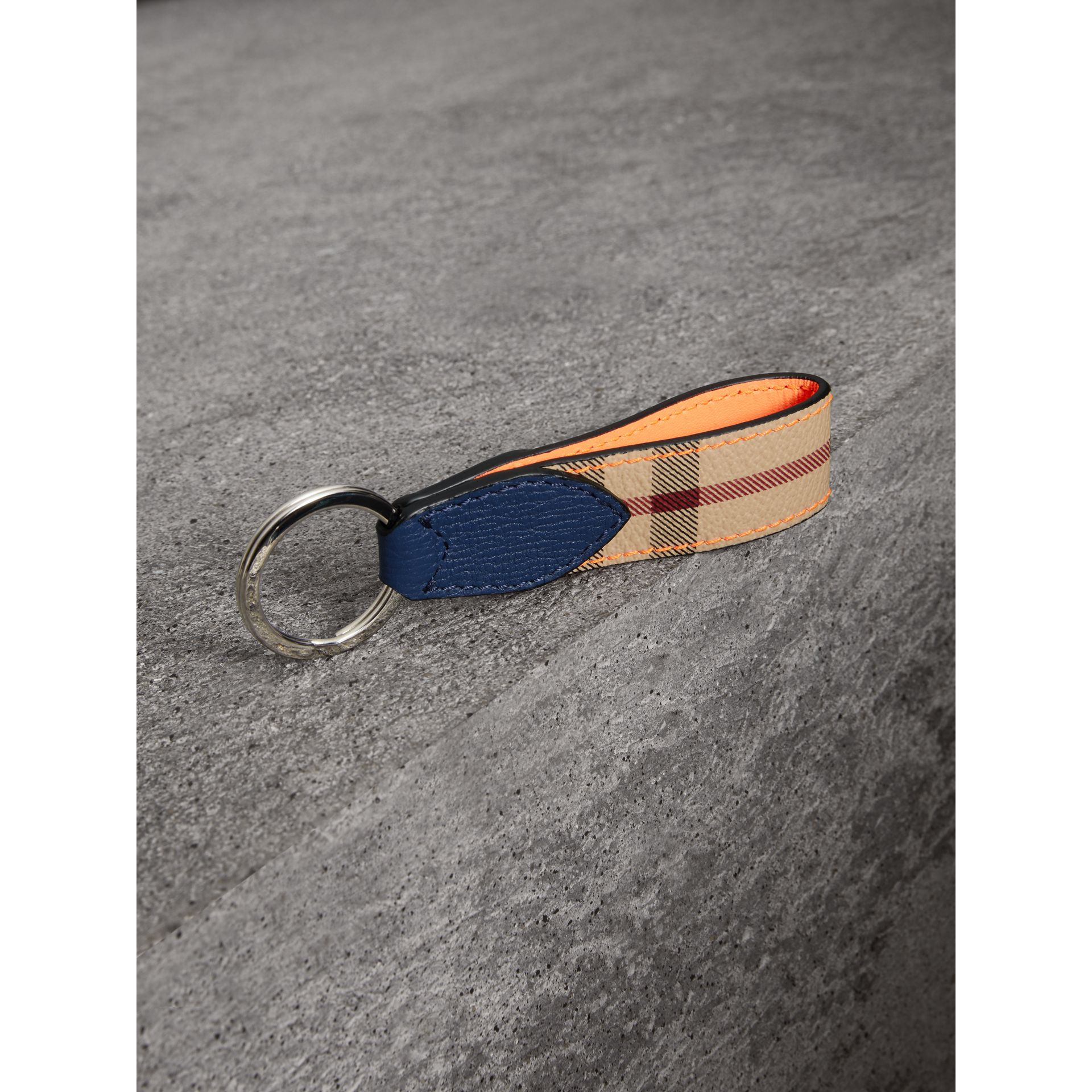 Haymarket Check and Two-tone Leather Key Ring in Bright Orange - Men | Burberry Canada - gallery image 2