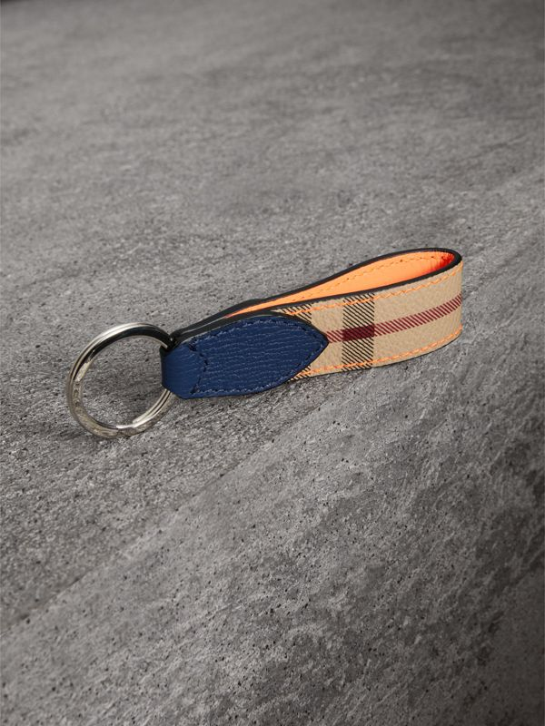 Haymarket Check and Two-tone Leather Key Ring in Bright Orange - Men | Burberry - cell image 2