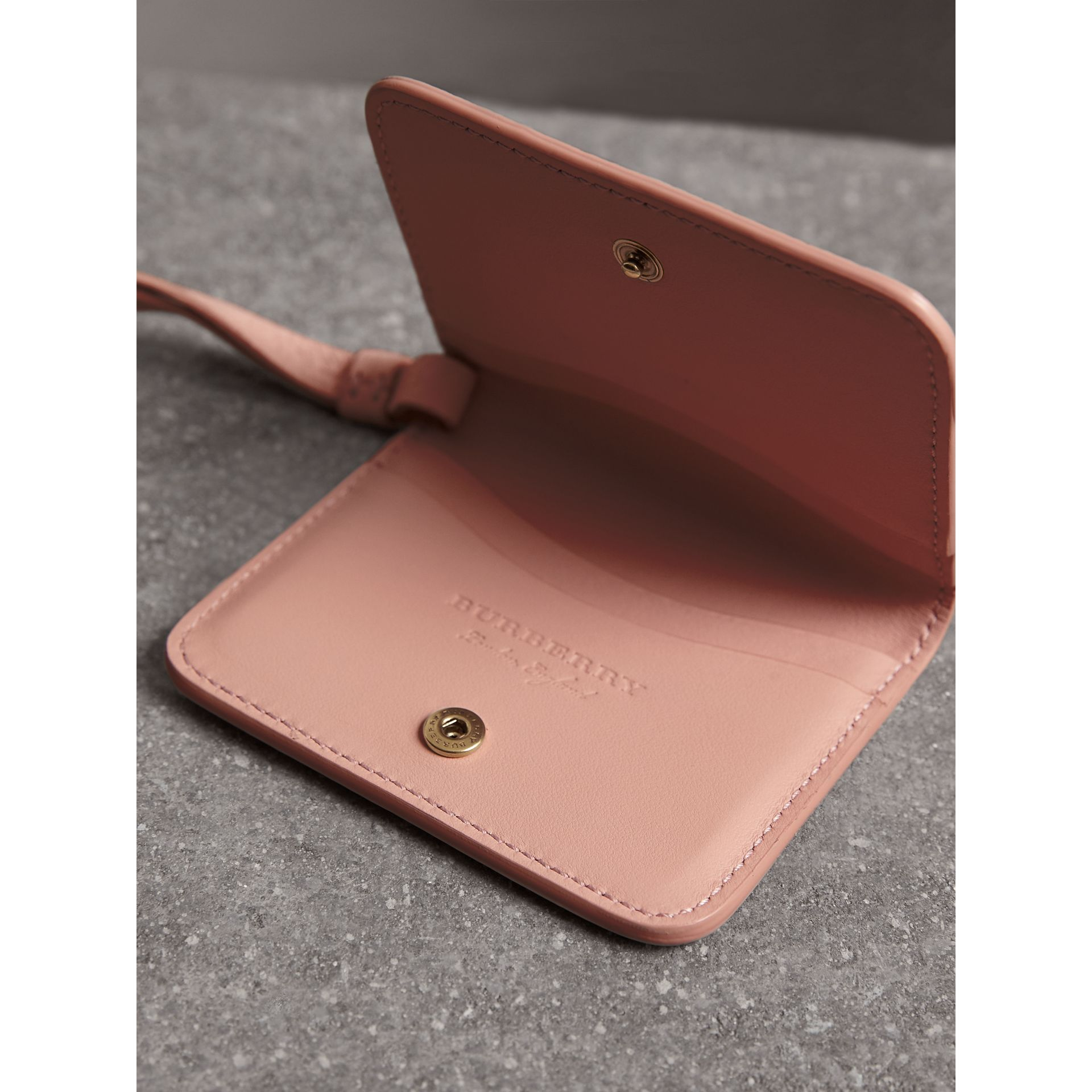 Embossed Leather ID Card Case Charm in Pale Ash Rose - Women | Burberry - gallery image 3
