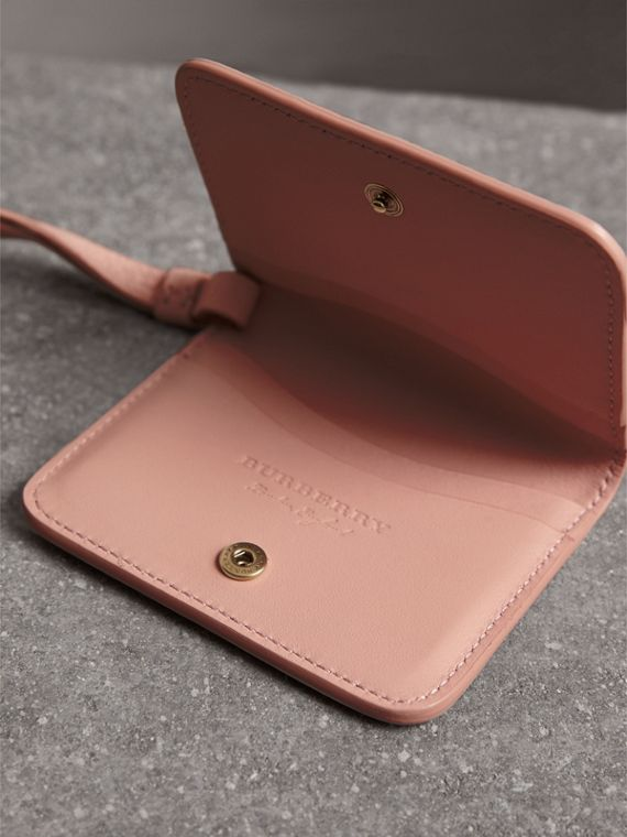 Embossed Leather ID Card Case Charm in Pale Ash Rose - Women | Burberry - cell image 3