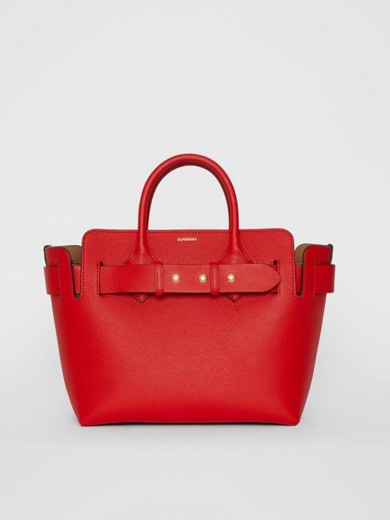 The Small Leather Triple Stud Belt Bag in Bright Military Red