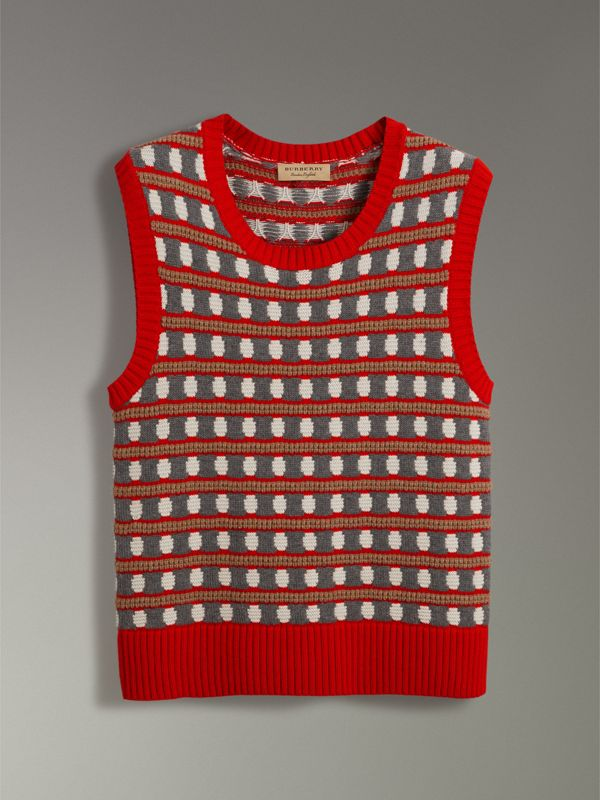 Geometric Cashmere Tank Top in Bright Red - Men | Burberry Hong Kong - cell image 3