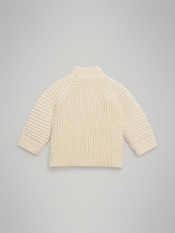 Rib Knit Wool Cashmere Cardigan in Ivory | Burberry United Kingdom - cell image 3