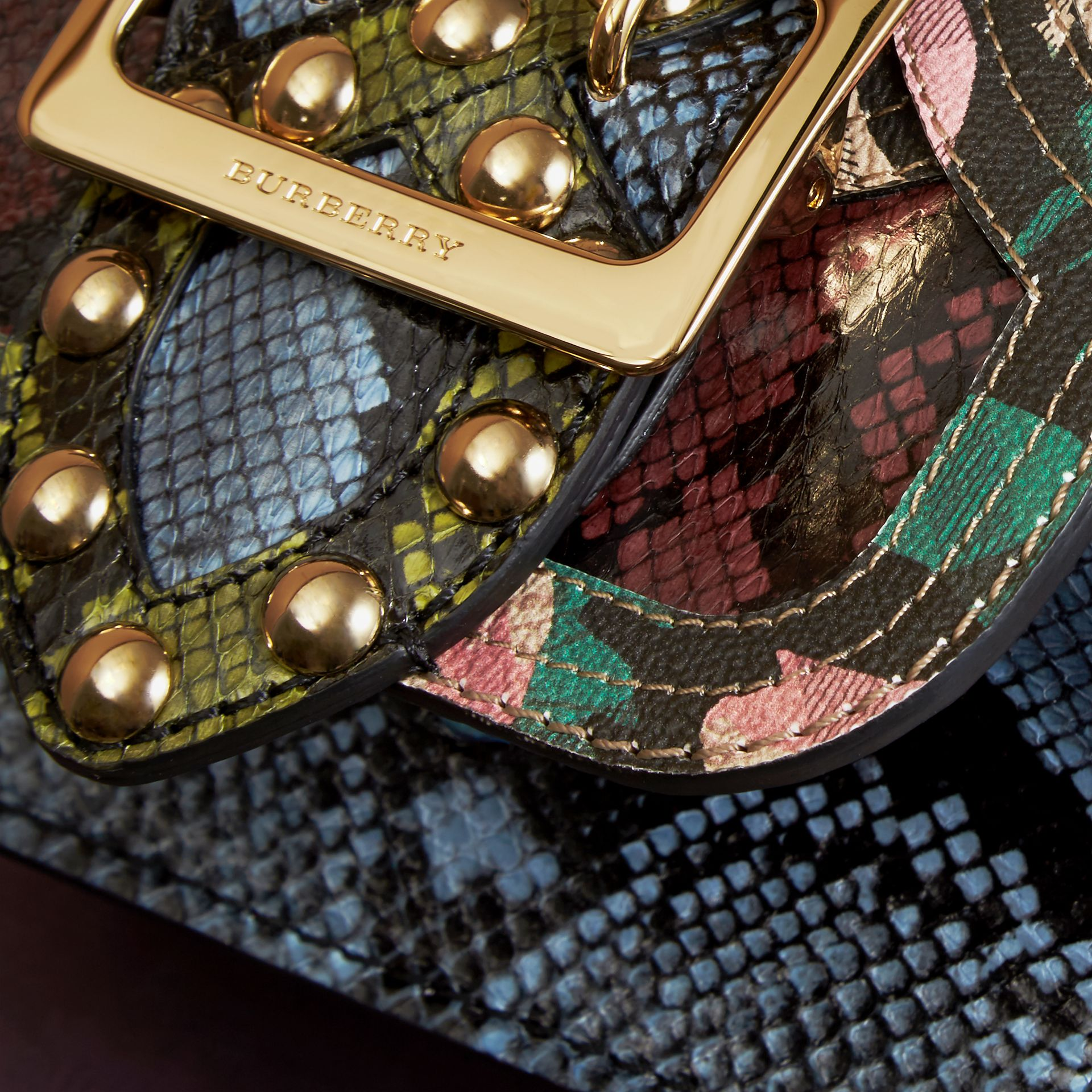 The Mini Square Buckle Bag in Riveted Snakeskin and Floral Print - gallery image 2