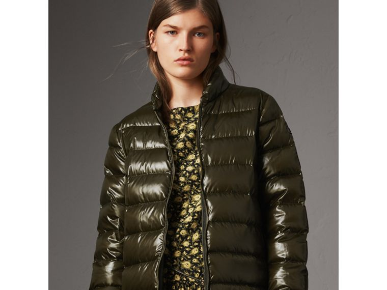 Raccoon Fur and Shearling Trim Parka with Warmer in Dark Olive - Women | Burberry - cell image 4