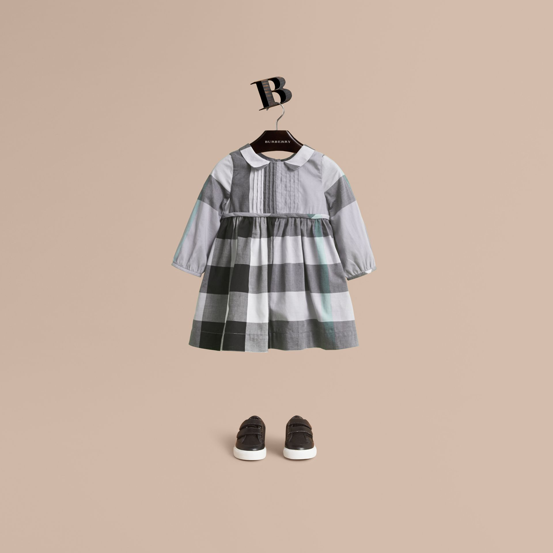 Long-sleeve Check Pintuck Bib Cotton Dress in Pale Stone Blue | Burberry - gallery image 1