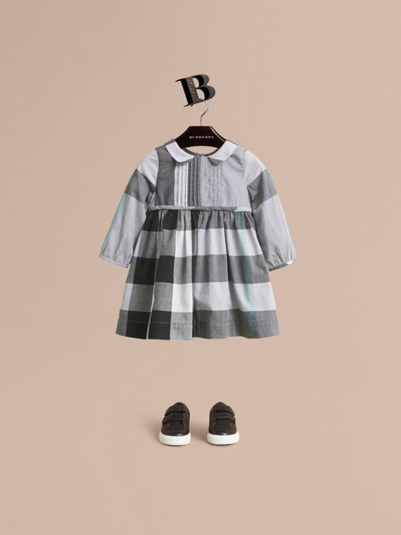 Long-sleeve Check Pintuck Bib Cotton Dress in Pale Stone Blue