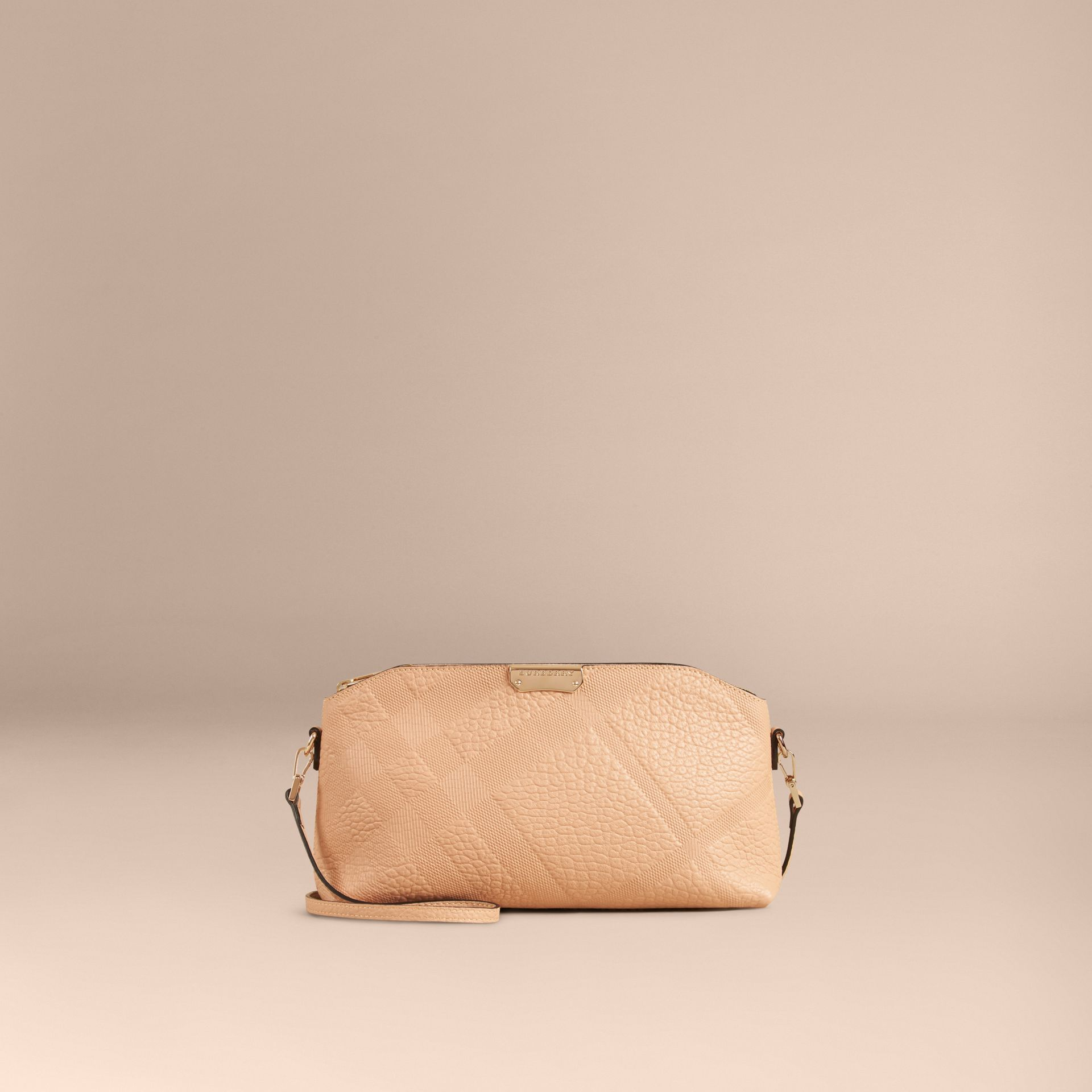 Pale apricot Small Embossed Check Leather Clutch Bag Pale Apricot - gallery image 2