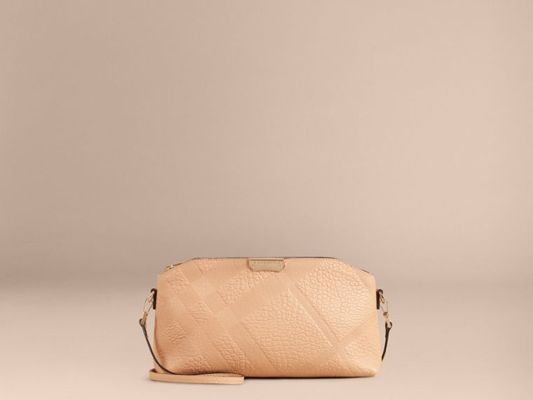 Pale apricot Small Embossed Check Leather Clutch Bag Pale Apricot - cell image 1