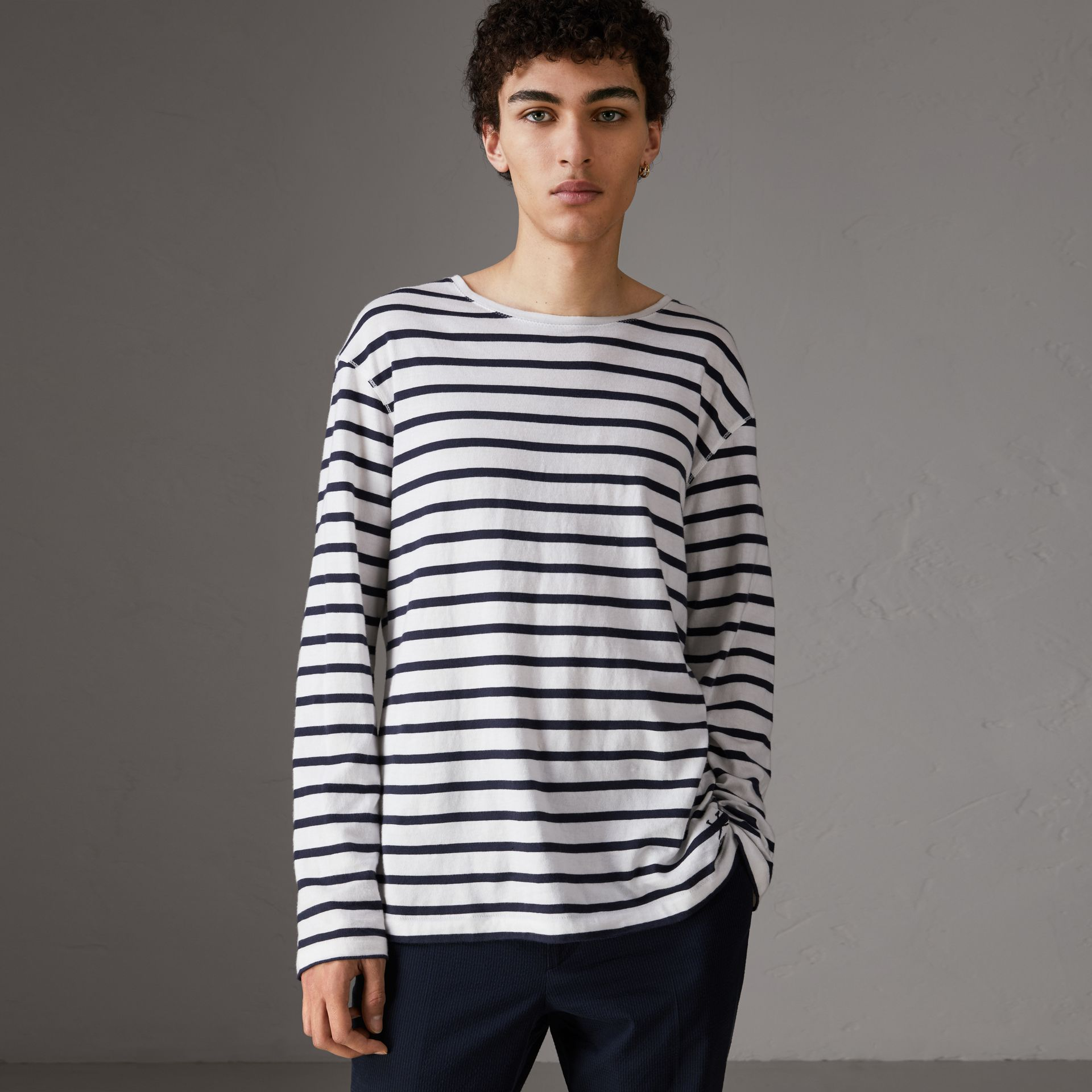 Breton Stripe Cotton Jersey Top in White/blue - Men | Burberry - gallery image 0